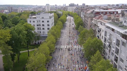 Aerial view of marathon city runners in the streets of Belgrade