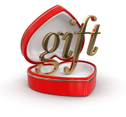 gift in the heart box (clipping path included)