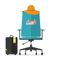 Flat design of empty office chair with fight ticket. Vector