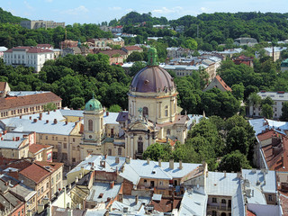 View of Dominican Church and monastery in Lviv, Ukraine