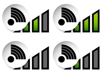 Signal Stength Indicator Set. Internet, Wi-fi, Wireless Connecti