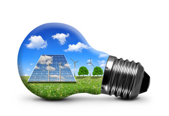 Solar panels and wind turbines in light bulb isolated .