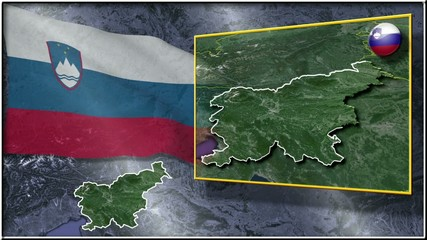 Slovenia flag and map animation FULL-HD