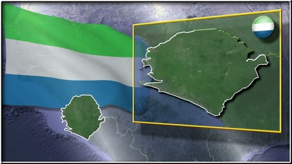 Sierra Leone flag and map animation FULL-HD