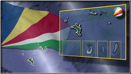 Seychelles flag and map animation FULL-HD