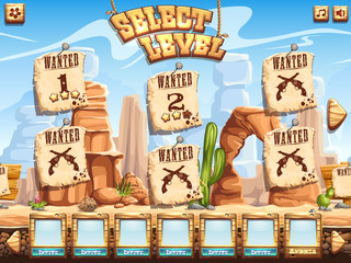 level selection screen for the computer game Wild West