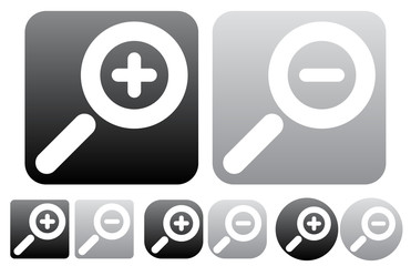 Minimal zoom in, zoom out icons, buttons w/ white magnifying gla