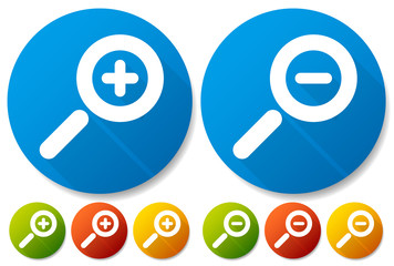 Bright Colorful Magnifier / Magnifying Glass Buttons, Icons. Sym