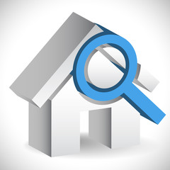 House with Magnifier. Icon for real estate, renovation, searchin