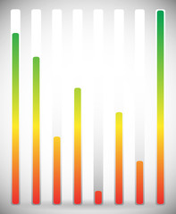Vertical level indicator set with color code (Green at high leve
