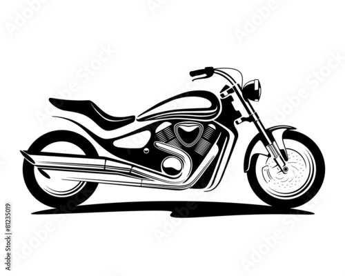 black and white illustration of a motorcycle - 81235019