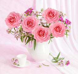Huge bunch of pink roses on artistic background