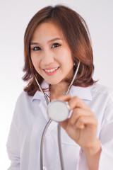 Asian medicine doctor woman, closeup portrait on white backgroun