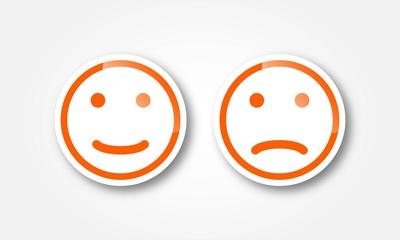 Aufkleber mit Gesichtern in Orange