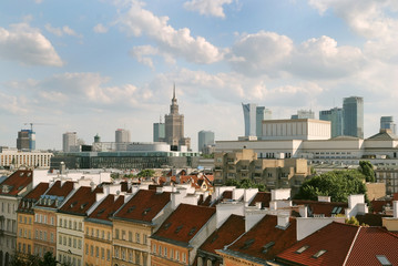old and new city of Warsaw