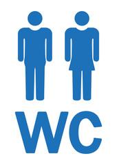 WC-Zeichen, Symbol, blau