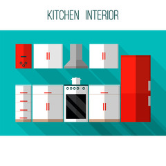 Kitchen interior. Kitchen furniture and utensils. Flat style vec