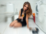 drunk woman in her bathroom