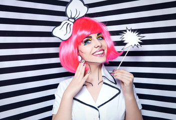 Smiling woman with comic talk bubble and make up