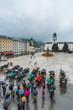 Leinwanddruck Bild - Residenzbrunnen fountain on Residenzplatz in Salzburg, Austria