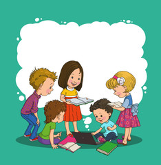 group of children holds the large clean sheet of paper