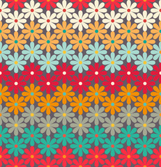 Seamless pattern of colorful flowers.