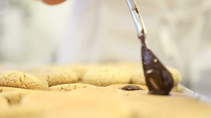drop of melted chocolate on biscuit