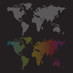 Dotted world maps.