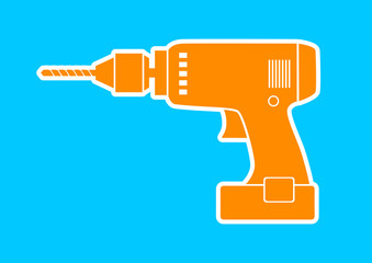 Orange drill icon on blue background