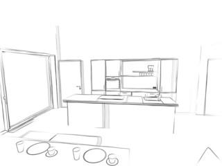 Skizze Wohnküche