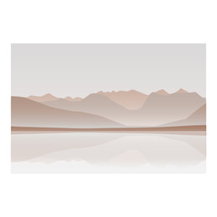 Mountain and ocean landscape background red