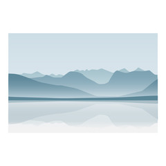 Mountain and ocean landscape background blue