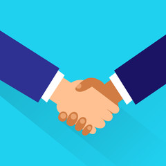 Handshake icon vector business hands shake flat design