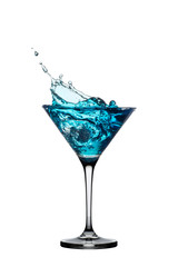 Blue cocktail with splash isolated on white.