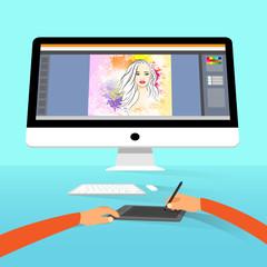 Graphic designer photographer portrait photo retouch workspace