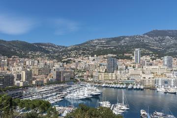 View across Port Hercule in Monaco towards Monte Carlo