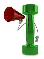 Green dumbbell character