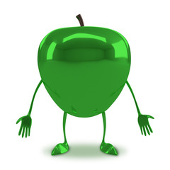 Green glossy apple character