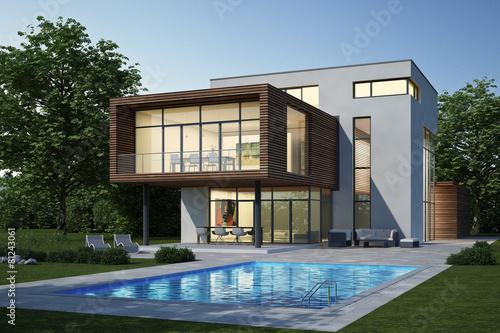 Moderne Villa 3 weiss holz Abend - 81243061