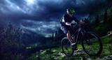 Fototapety Mountainbiking uphill