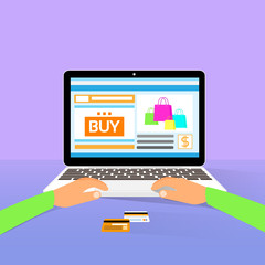 laptop on line shopping hands type buy flat design