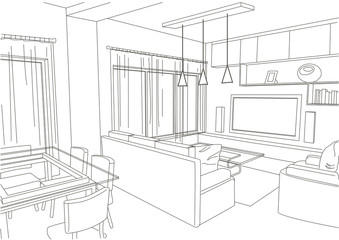 linear architectural sketch living-room studio
