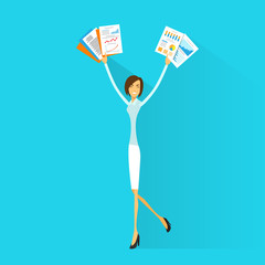 Business woman excited hold hands up raised arms paper documents
