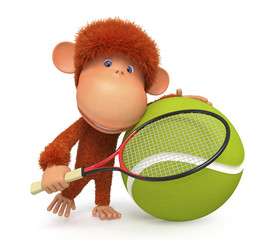 the little monkey plays tennis