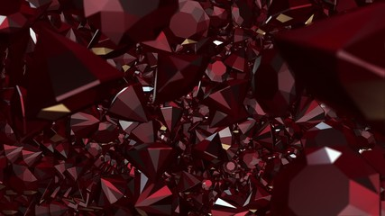 Abstract gems in dark red