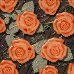 Orange roses seamless pattern background