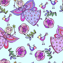 Vector graphics, artistic, stylized  seamless pattern sketch ill