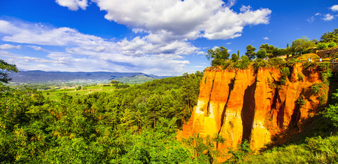 rocks of natural ochre in Roussillon, Provence,France