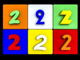 various numbers 2 on colored cubes