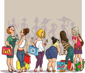 drawing girls shopping